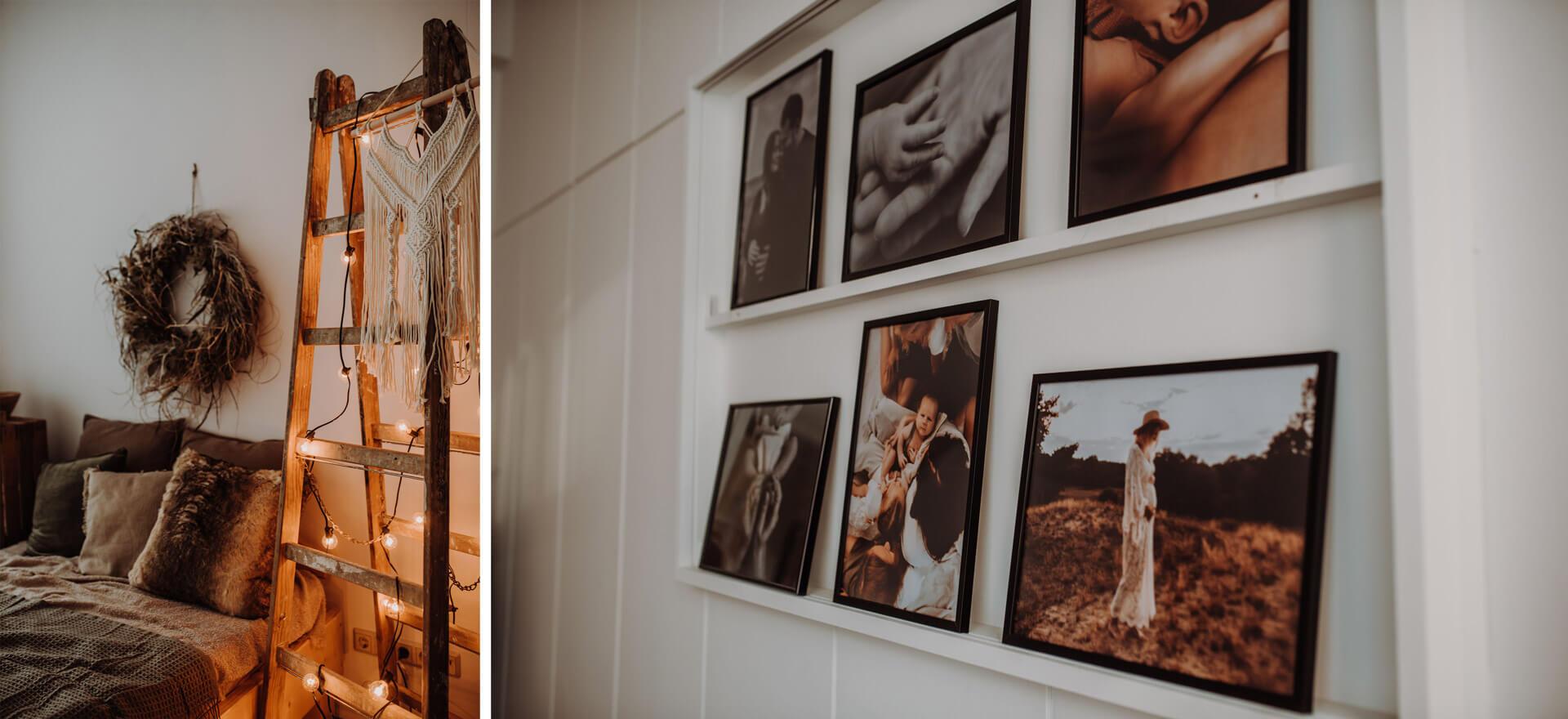 Collage aus Studio mit Bett, Leiter und Lichterkette und Accesoires und Foto von Bilderrahmen mit Fotografien an der Wand