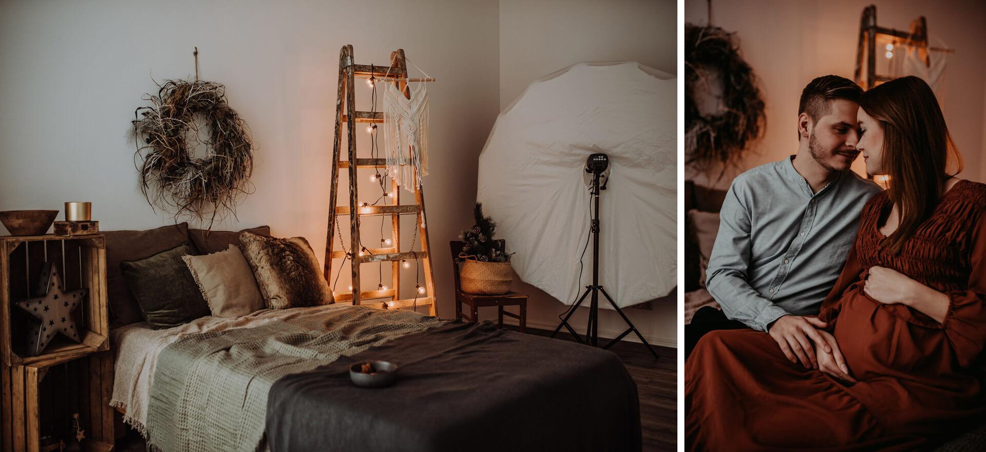 Collage aus Studio mit Bett und Accesoires und eine Beispielaufnahme Paarfotografie mit Babybauch